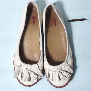 Sorel Cream Leather Ballet Moccasin Tassel Size 6